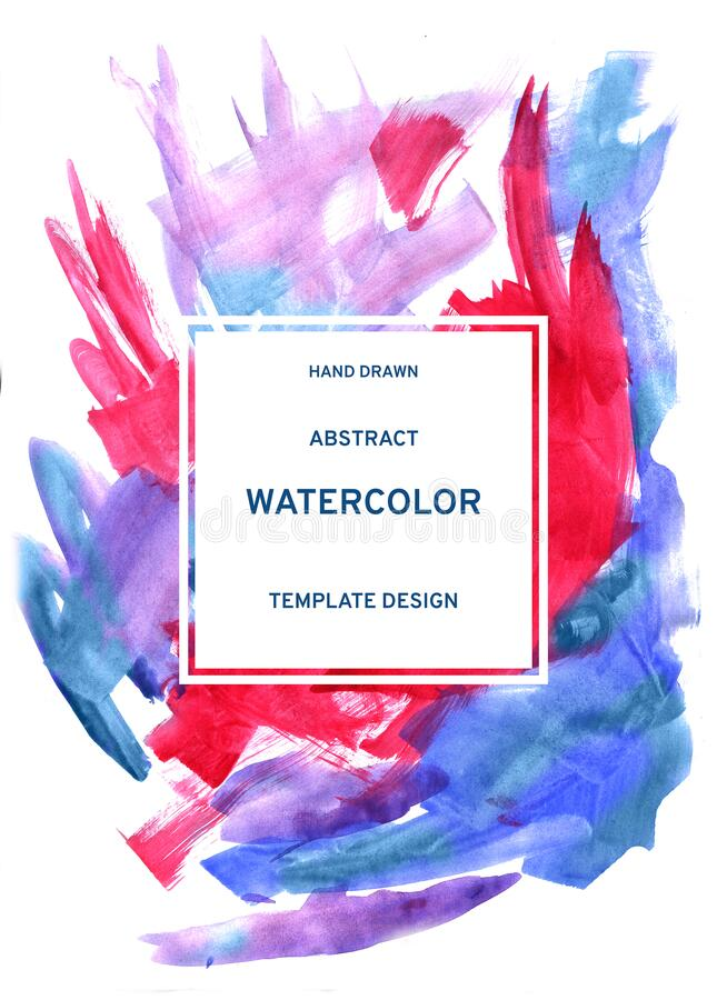 Watercolor abstract greeting card. Hand drawn brush strokes in pink and classic blue color. Element for packaging design, invitation, tag, and etiquette stock images
