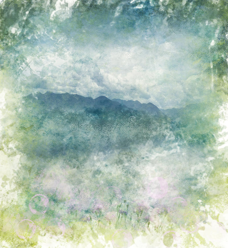 Watercolor Abstract Image Of Mountains royalty free illustration