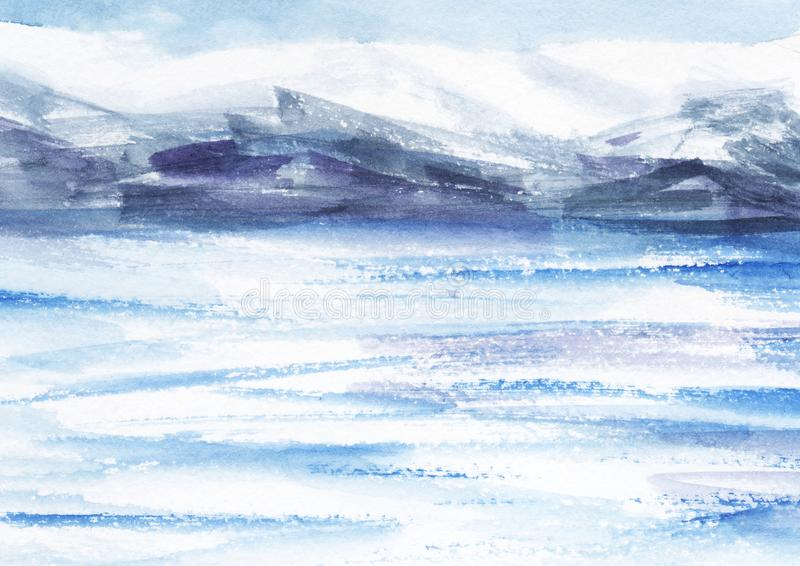 Watercolor abstract landscape. Ice fields, cold mountains. Light cloudy sky. Hand drawn on a paper illustration. stock illustration