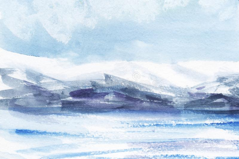 Watercolor abstract landscape. Ice fields, cold mountains. Light cloudy sky. Hand drawn on a paper illustration. Watercolor abstract landscape. Ice fields, cold royalty free illustration