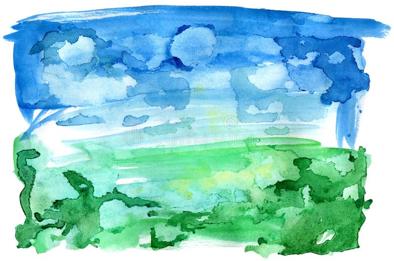 Watercolor abstract landscape.Sky and meadow.Splash and blot background. vector illustration