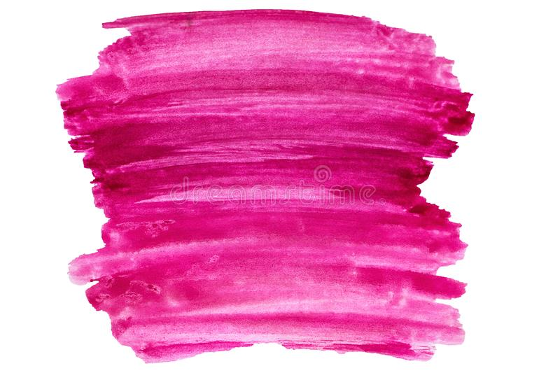 Watercolor abstract paint stroke on white background. Pink watercolor abstract paint stroke on white background royalty free stock photography