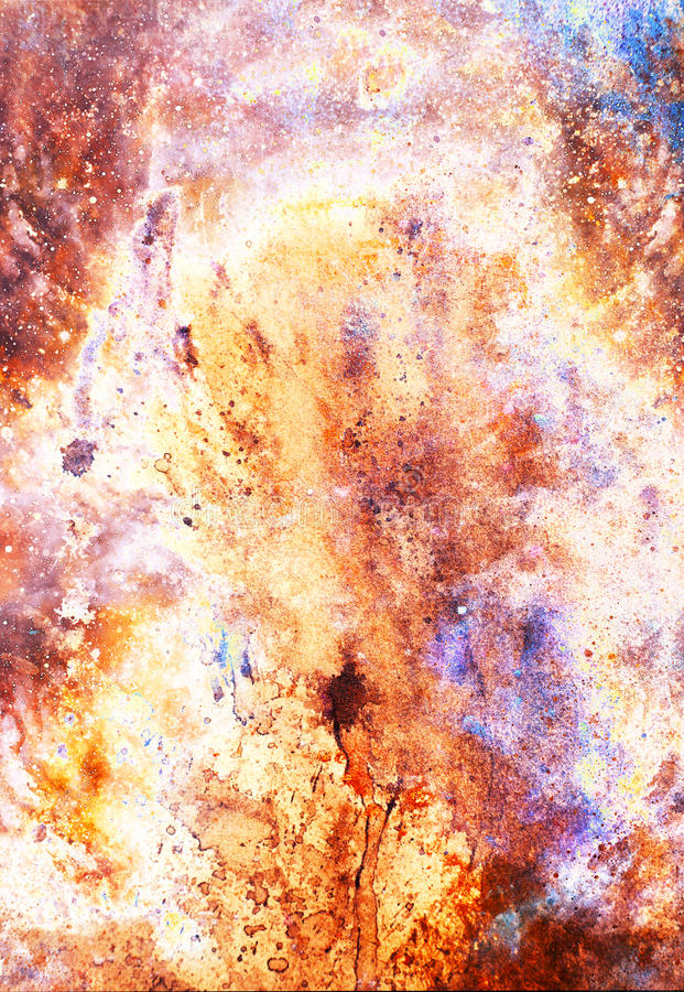 Watercolor abstract painting and computer collage. Color background with spots. Fire effect. Watercolor abstract painting and computer collage. Color background royalty free illustration