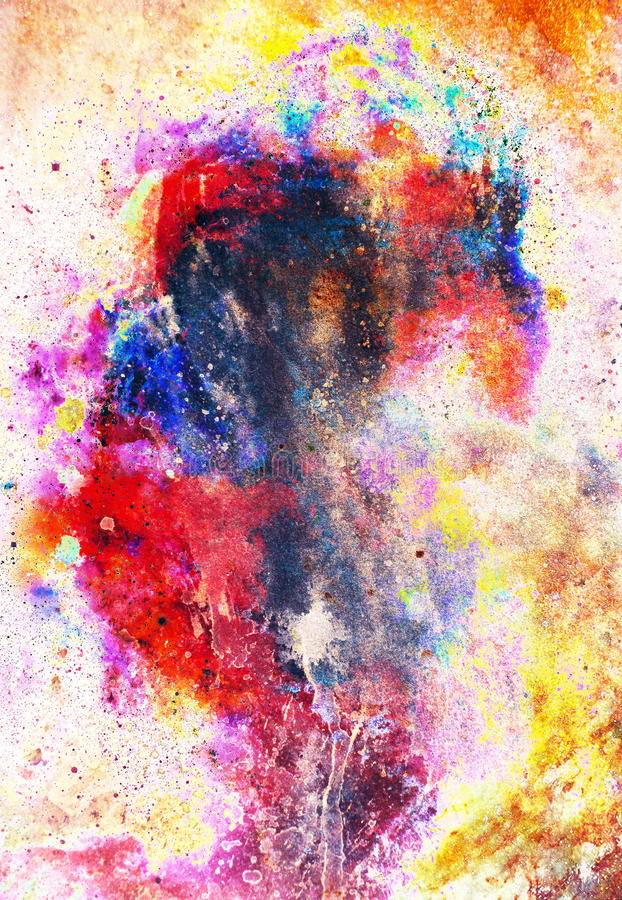 Watercolor abstract painting and computer collage. Color background with spots. Fire effect. Watercolor abstract painting and computer collage. Color background vector illustration