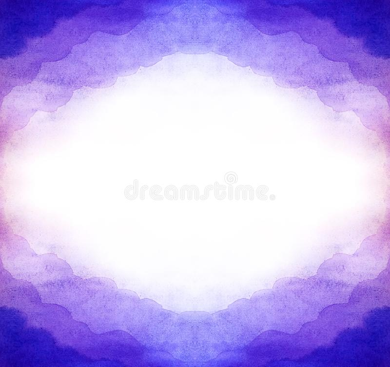 Watercolor abstract purple background horizontal from symmetrical a frame of air clouds. White shine inside in the middle for copy stock illustration