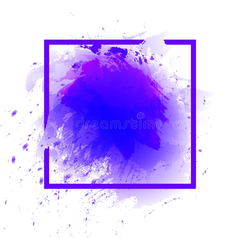 Watercolor Abstract Splash Frame, Square VECTOR Template, Ultraviolet Color. Watercolor Abstract Splash Frame, Square Border VECTOR Template, Ultraviolet Trendy stock illustration