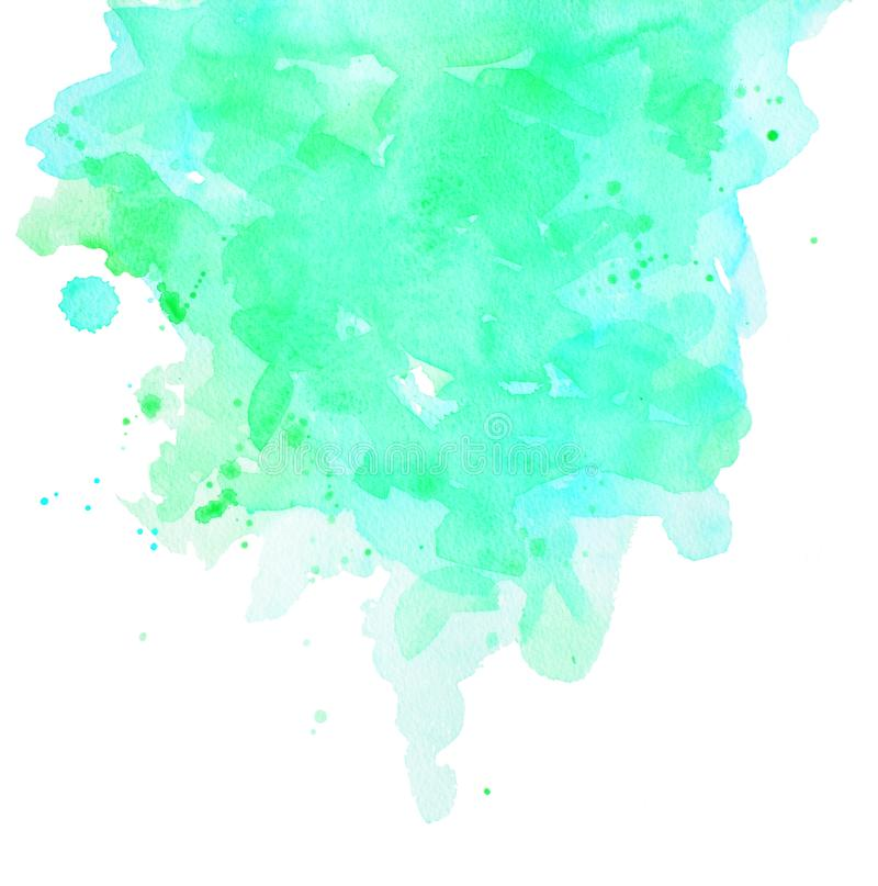 Watercolor abstract spot color of bright aquamarine stock photos