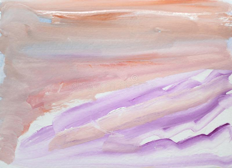 Watercolor abstract textured multicolored background with orange, lilac and pink brush strokes and waves royalty free illustration