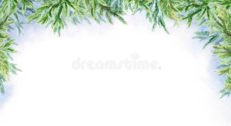 Watercolor abstract winter horizontal background. Branches of fir. Winter landscape. Watercolor abstract winter background. Branches of fir. Winter landscape royalty free stock photo