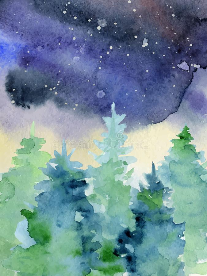 Watercolor abstract woddland, fir trees silhouette with ashes and splashes, winter background royalty free illustration
