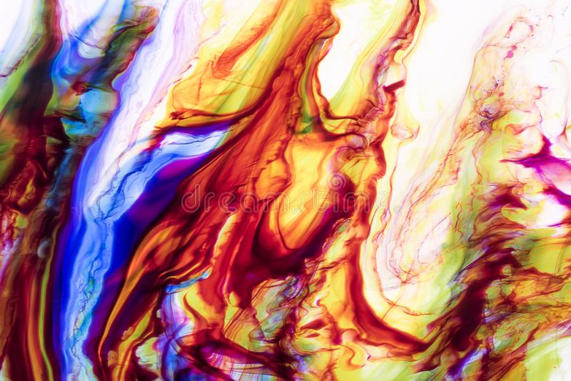 Watercolor and acrylic abstract. Colorful background. Mix, splashes and drawings of colors: blue, red, green, yellow, brown, white stock image