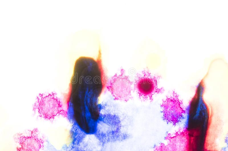 Watercolor and acrylic abstract. Colorful background. Mix, splashes and drawings of colors: blue, red, white stock photos