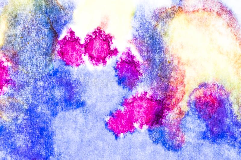 Watercolor and acrylic abstract. Colorful background. Mix, splashes and drawings of colors: blue, red, yellow, white stock photo