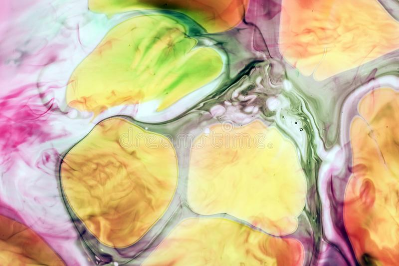 Watercolor and acrylic abstract. Colorful background. Mix, splashes and drawings of colors: yellow, red, green, brown, white stock photography