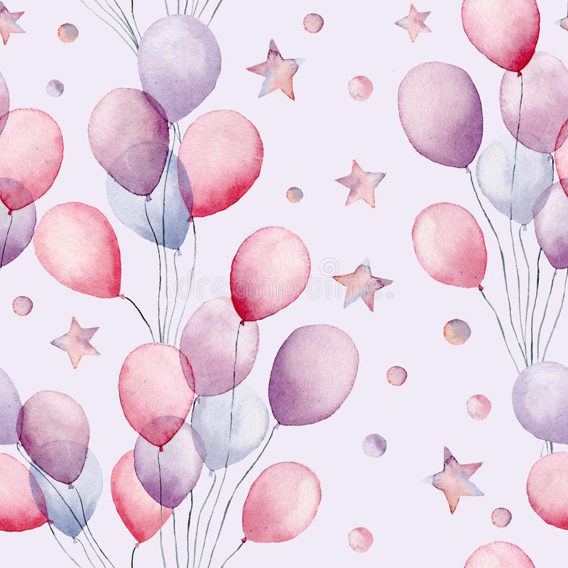 Watercolor air ballons and stars big seamless pattern. Hand painted illustration with colorful air balloons and stars stock illustration