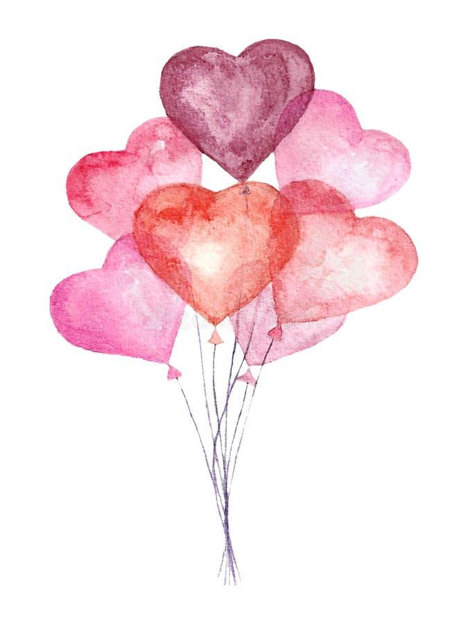 Watercolor air balloons. royalty free stock image