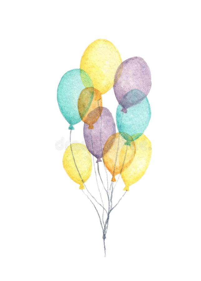 Watercolor air balloons. Hand drawn pack of party colorful balloons. stock illustration