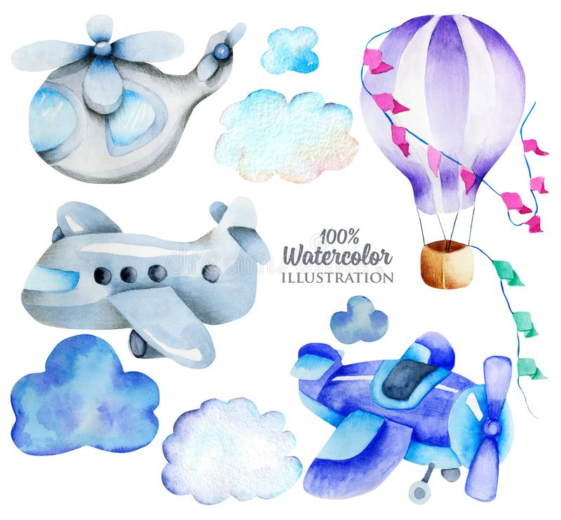 Watercolor air transport elements airplane, helicopter, hot balloon collection, illustration for kids. Illustration for kids, hand painted isolated on a white royalty free illustration