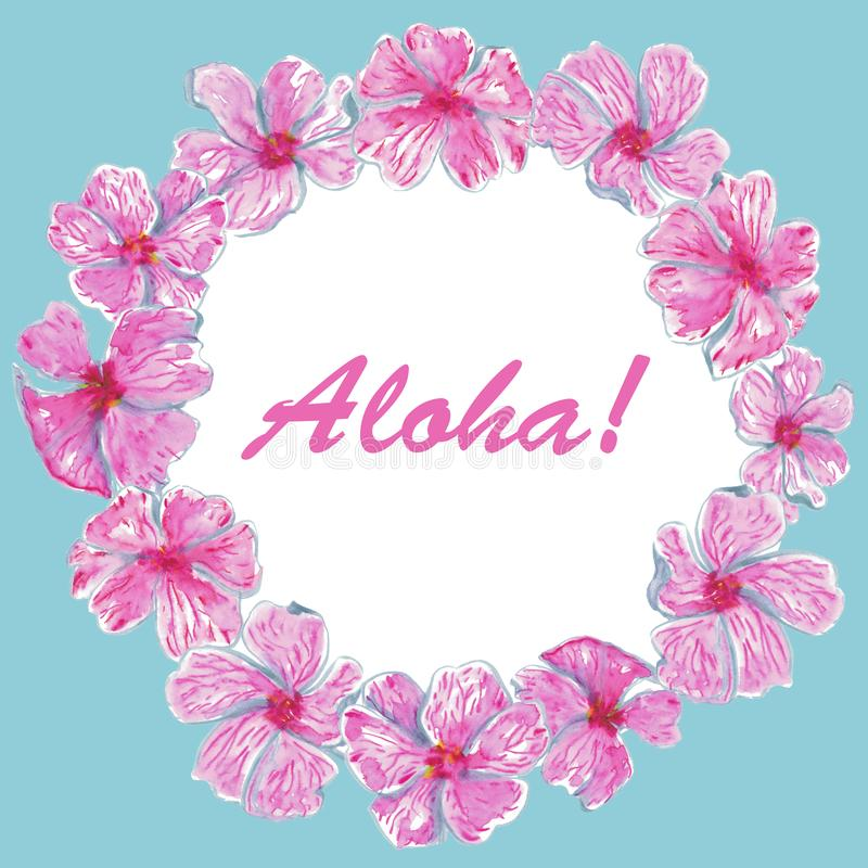 Watercolor Aloha Frame of pink tropical flowers royalty free illustration