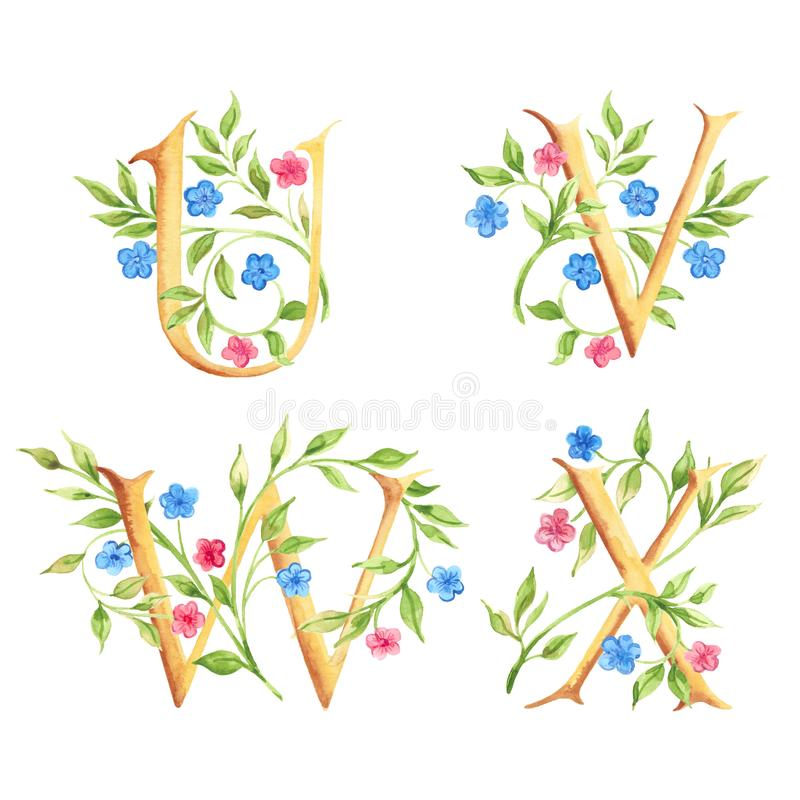 Hand drawn watercolor alphabet with flowers. Monograms. royalty free stock photography