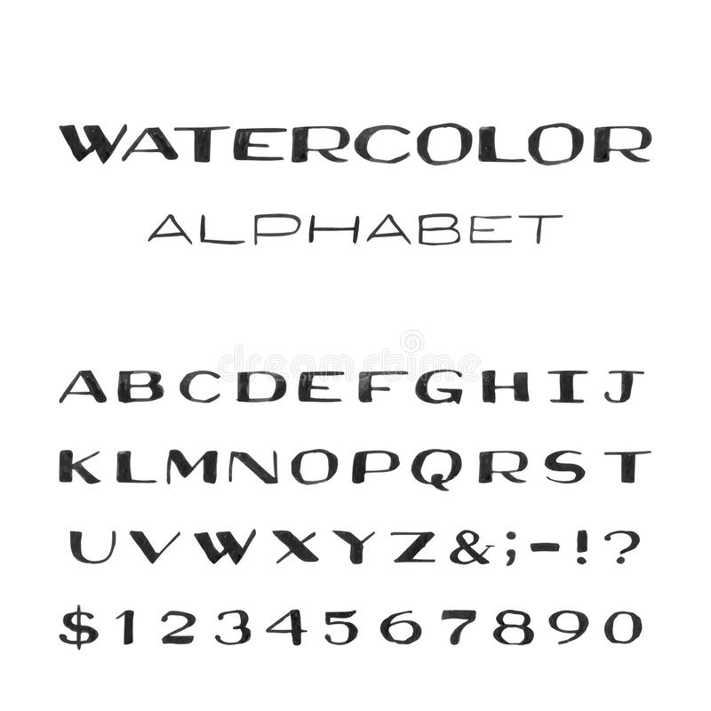 Watercolor Alphabet. Painted Vector Font. stock illustration