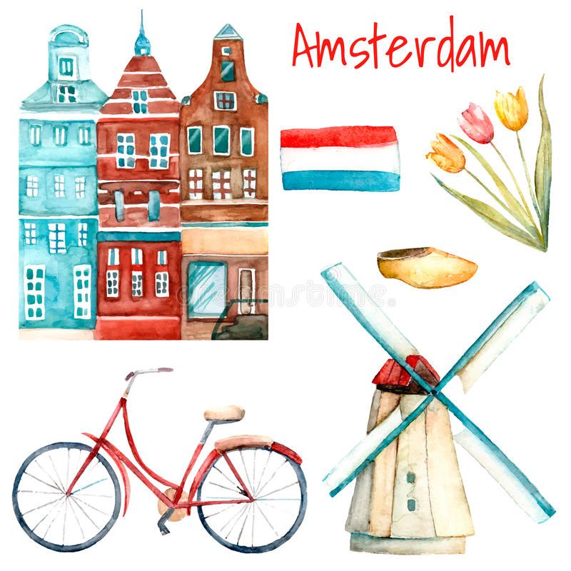 Watercolor Amsterdam illustration. Set of traditional objects of Netherlands. Isolated elements in vector included buildings, tulips, windmill, flag, bike and vector illustration