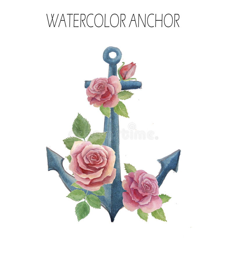 Watercolor anchor with roses and leaves. Watercolor anchor with pink roses and leaves stock illustration