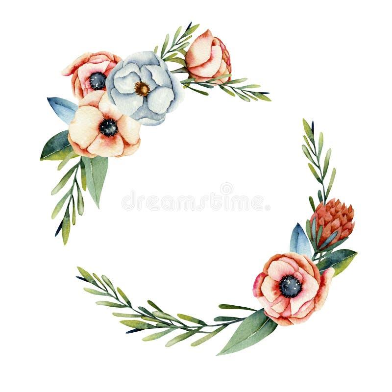 Στεφάνι του κοραλλιού watercolor και των άσπρων λουλουδιών anemone και protea διανυσματική απεικόνιση