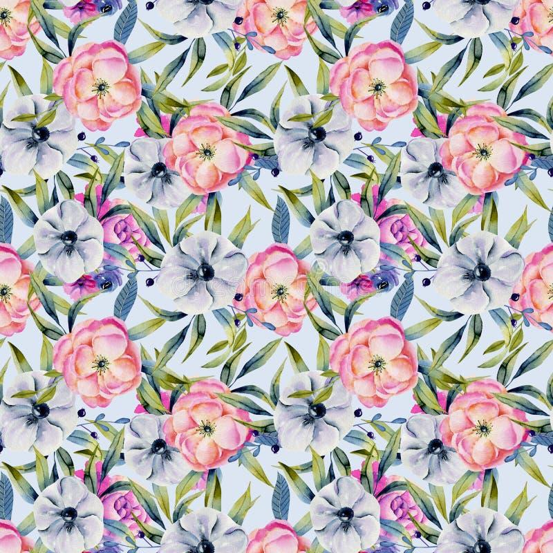 Watercolor anemones και ρόδινο άνευ ραφής σχέδιο peonies ελεύθερη απεικόνιση δικαιώματος