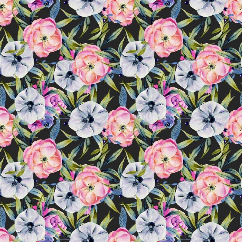 Watercolor anemones και ρόδινο άνευ ραφής σχέδιο peonies απεικόνιση αποθεμάτων