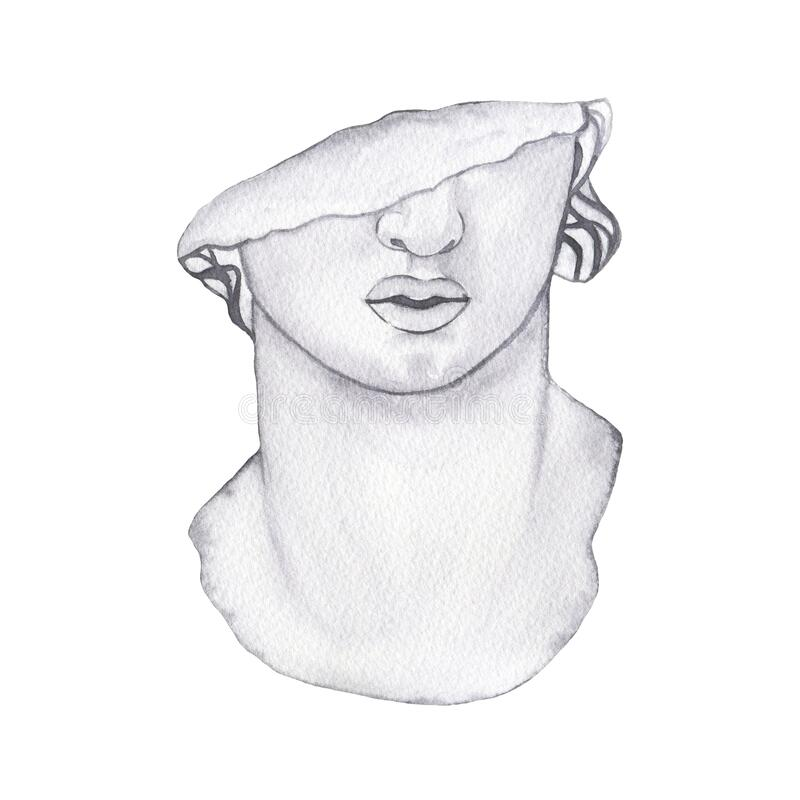 Free Watercolor Antique Marble Statue Of Half Woman Head Face Isolated Stock Photo - 182467280