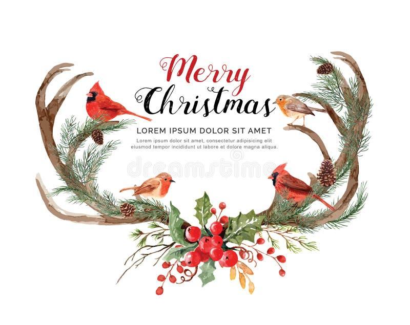 Watercolor antler reindeer with birds Christmas. vector illustration