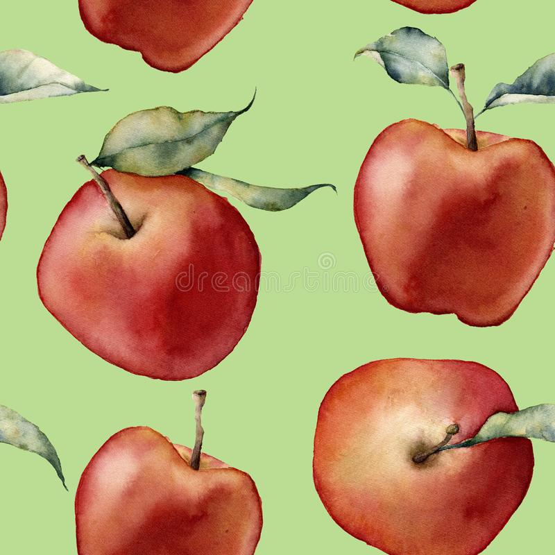 Watercolor apple pattern. Hand painted red apples with leaves on green background. Botanical food illustration stock illustration