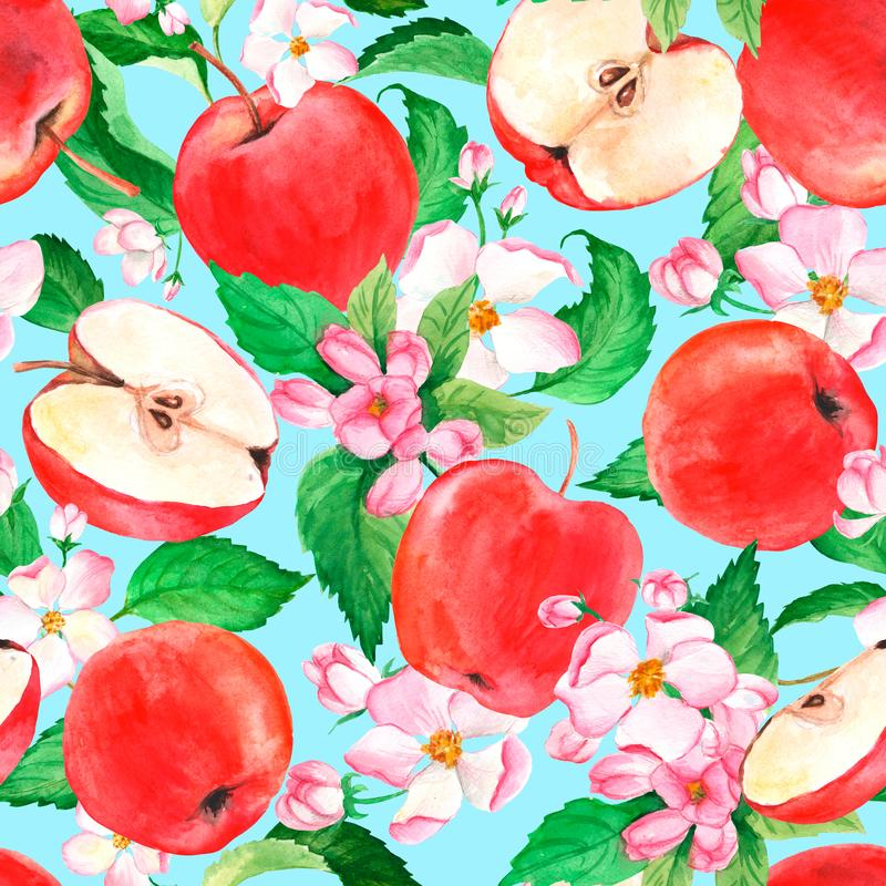 Watercolor apples and floral seamless pattern. Fruit background. Suitable for fabric, packaging, cover and textile royalty free illustration