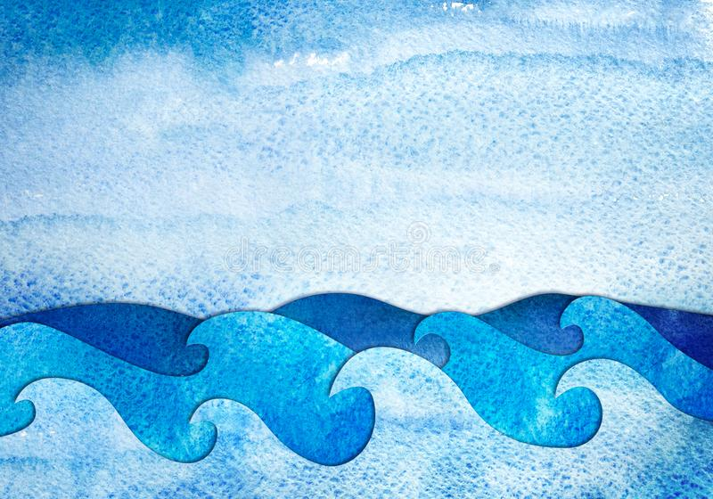 Watercolor applique seascape. Abstract hand drawn illustration. Sea applique from watercolor painted paper. Creative background vector illustration