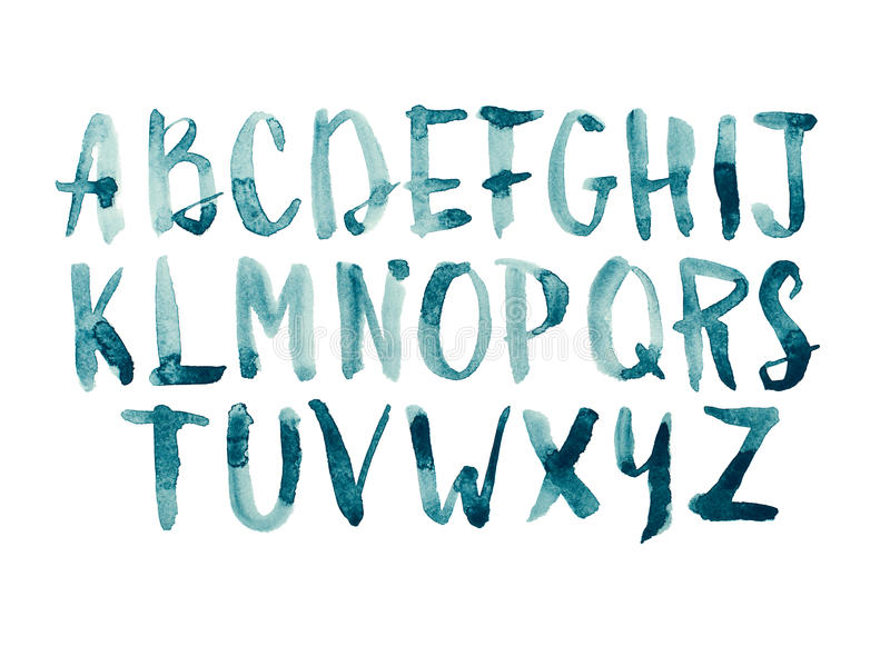 Watercolor aquarelle font type handwritten hand drawn doodle abc alphabet uppercase letters. stock illustration