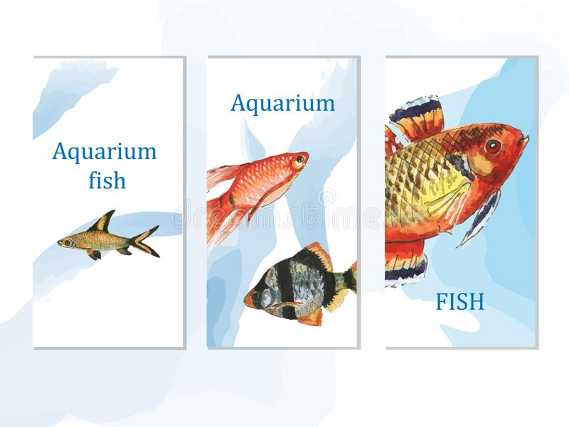 Watercolor aquarium fish set of posters royalty free stock photos