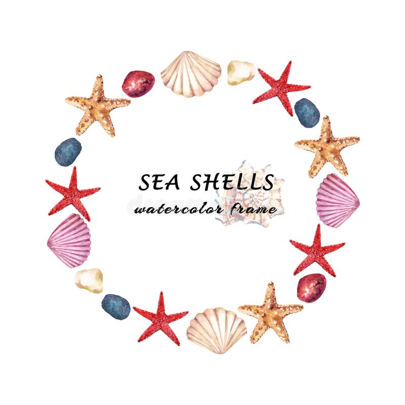 Watercolor aquatic round frame with sea shells, starfish and stones. Hand drawn illustration isolated on white background royalty free stock photo
