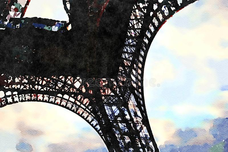Watercolor of the arcades at the base of the Eiffel tower. In Paris stock illustration