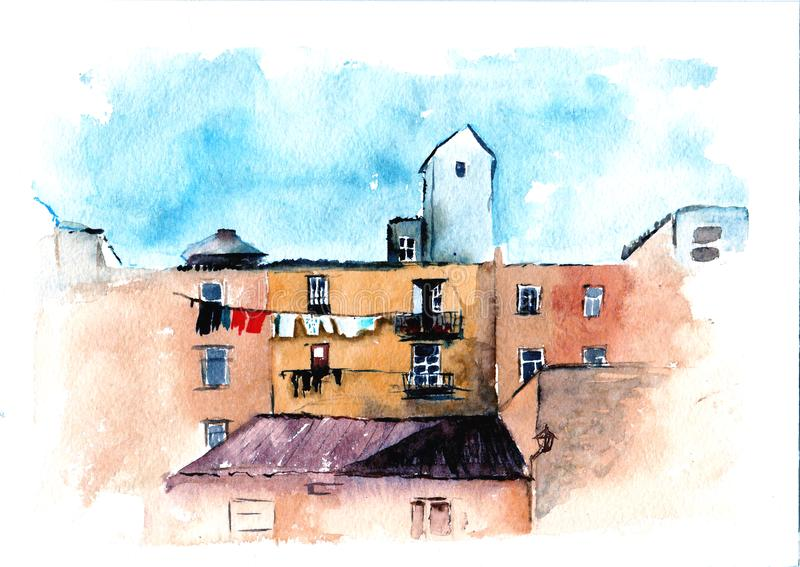 Watercolor architecture painting, urban sketch. Horizontal drawing of European city. House illustration. Hand drawn buildings. royalty free illustration