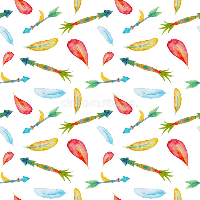 watercolor arrows and feathers pattern tile tropical arrows