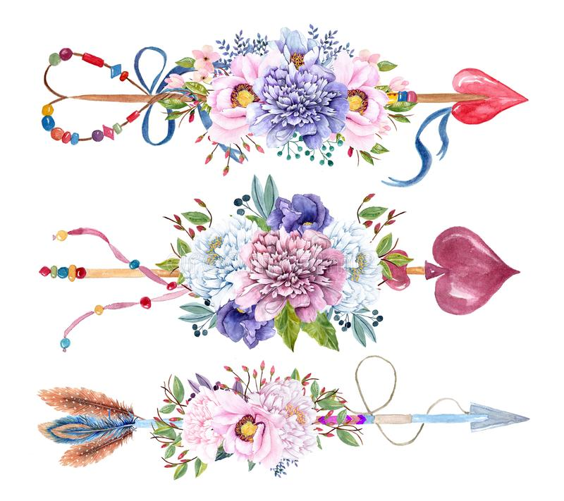 Watercolor arrows set with flower bouquets royalty free stock photography