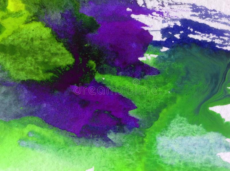 Watercolor art background creative fresh vibrant textured wet wash blurred overflow chaos. Watercolor art abstract background bright wash blurred textured stock illustration