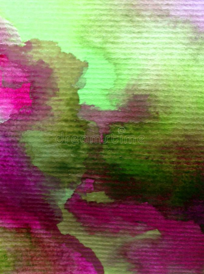 Watercolor art background abstract colorful textured storm clouds sky stains blot overflow romantic. Watercolor art abstract background bright wash blurred stock image
