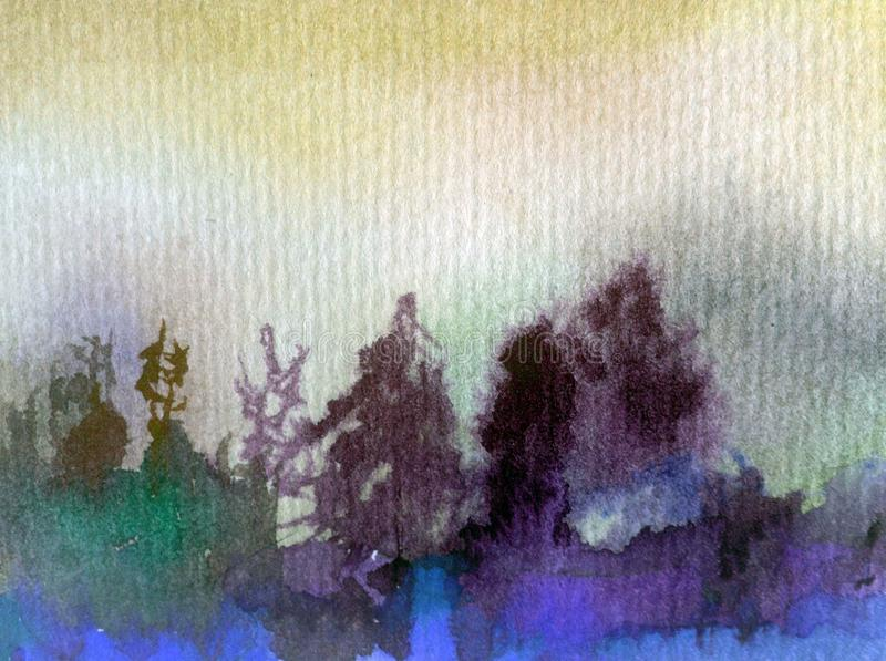 Watercolor art abstract background fresh beautiful landscape sky forest trees pine nature textured wet wash blurred fantasy royalty free illustration