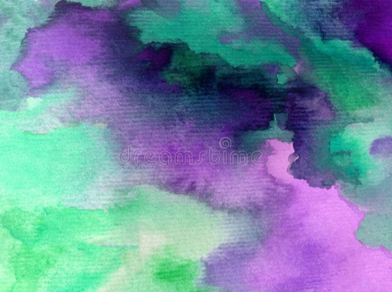 Watercolor art abstract background fresh beautiful sky clouds air day textured wet wash blurred fantasy. Art abstract background extruded in watercolor. nature royalty free stock image