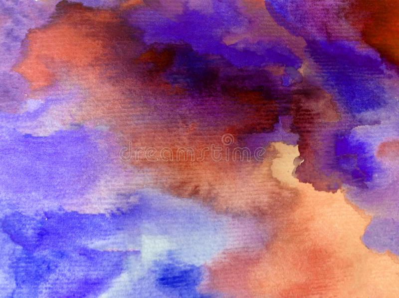 Watercolor art abstract background fresh beautiful sky clouds air day textured wet wash blurred fantasy. Art abstract background extruded in watercolor. nature stock image