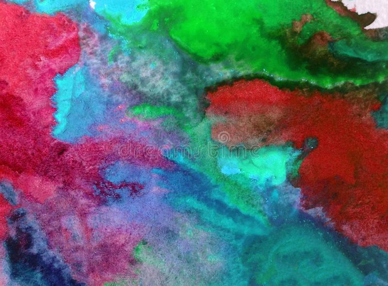 Watercolor art background abstract blue purple red green colorful textured wet wash blurred sea ocean. Art abstract background extrudet watercolor . wet wash royalty free stock photos