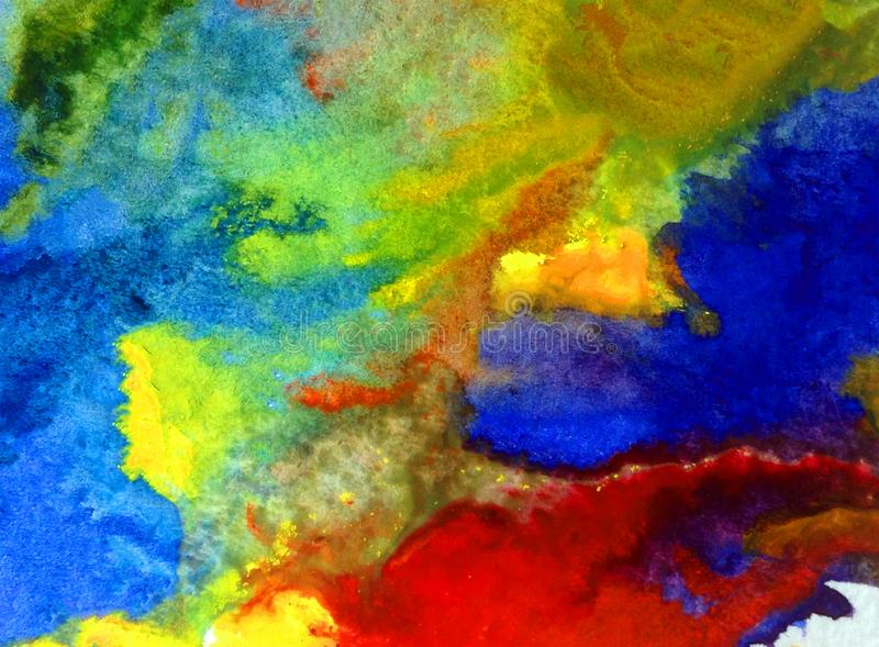 Watercolor art background abstract blue yellow red colorful textured wet wash blurred sea ocean. Art abstract background extruded watercolor . wetnwash blurred stock image
