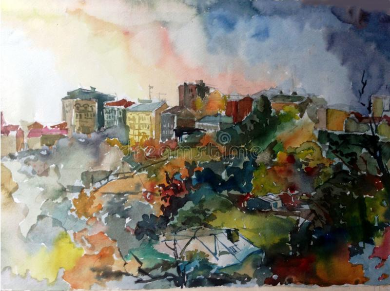 Watercolor art background abstract city architecture house building textured wet wash blurred fantasy stock illustration